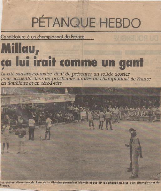 National de Millau août 1989 : je découvre les cadres d'honneur du Parc de la Victoire aux côtés d'Emile Mathieu avec lequel nous battons les frères Rigal de Rodez.