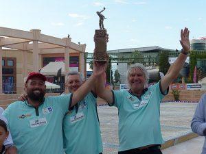 Maison Durk, Pascal Miléi et Marco Foyot, vainqueurs de cette 1ère édition de l'Odyssée à Pétanque de Montpellier.